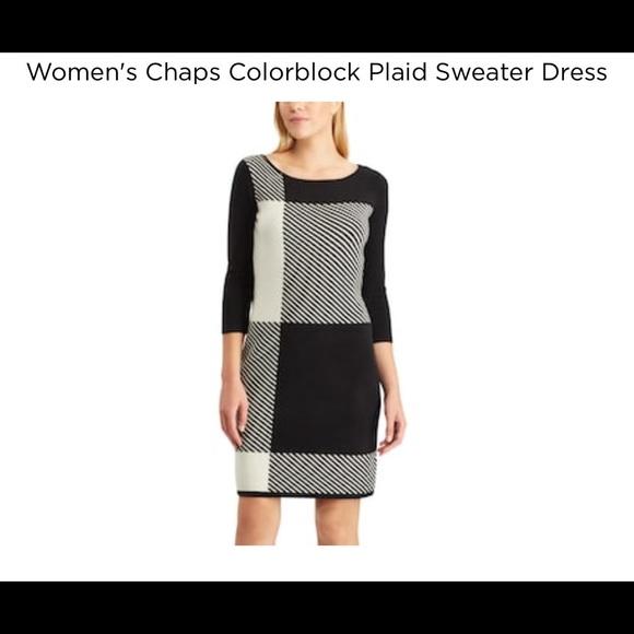 95f53e7b Chaps Dresses | Womens Colorblock Sweater Dress Nwt | Poshmark